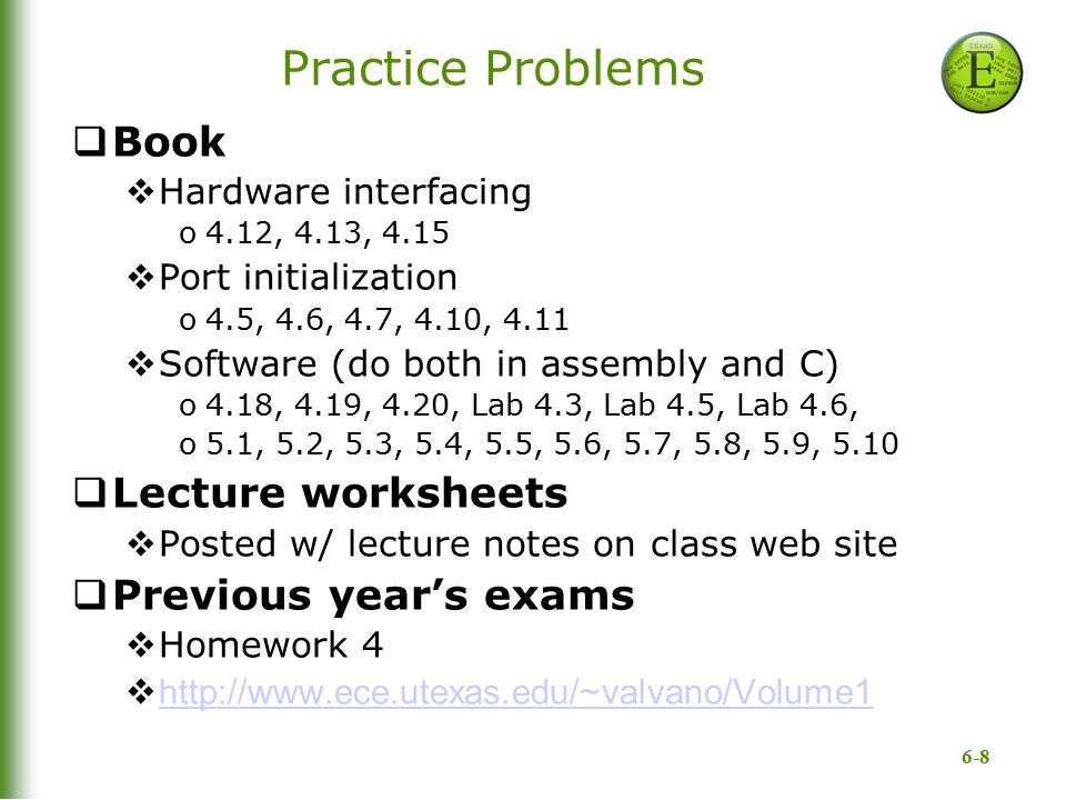 Practice Problems Book Lecture worksheets Previous year's exams