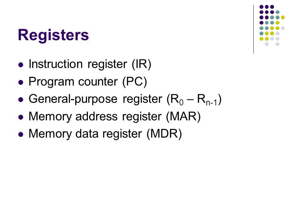 Registers Instruction register (IR) Program counter (PC)