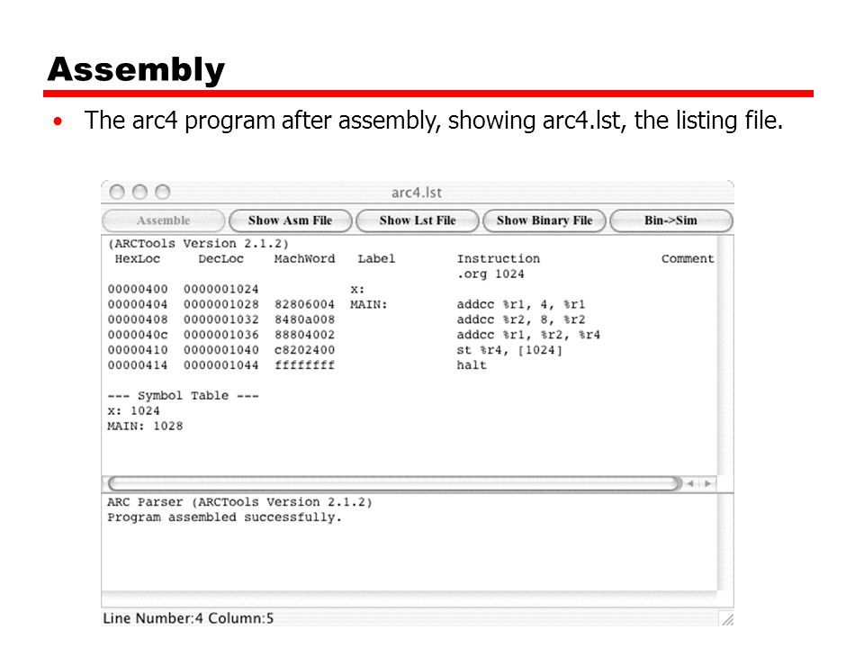 Assembly The arc4 program after assembly, showing arc4.lst, the listing file.