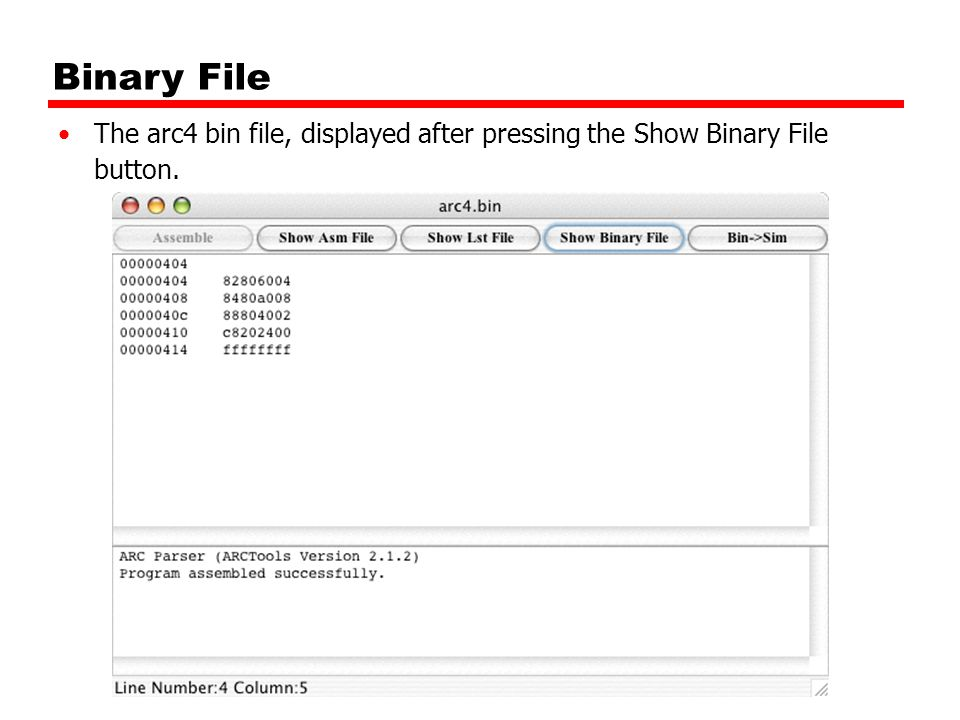 Binary File The arc4 bin file, displayed after pressing the Show Binary File button.
