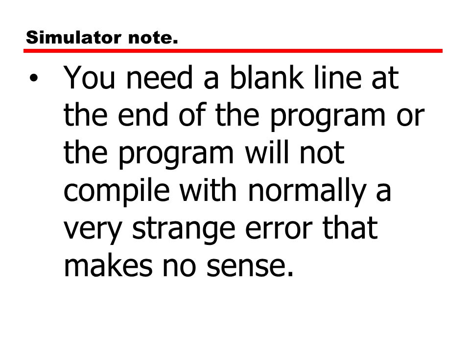 Simulator note.