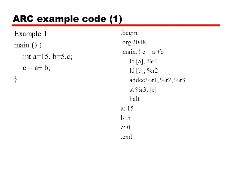 ARC example code (1) Example 1 main () { int a=15, b=5,c; c = a+ b; }