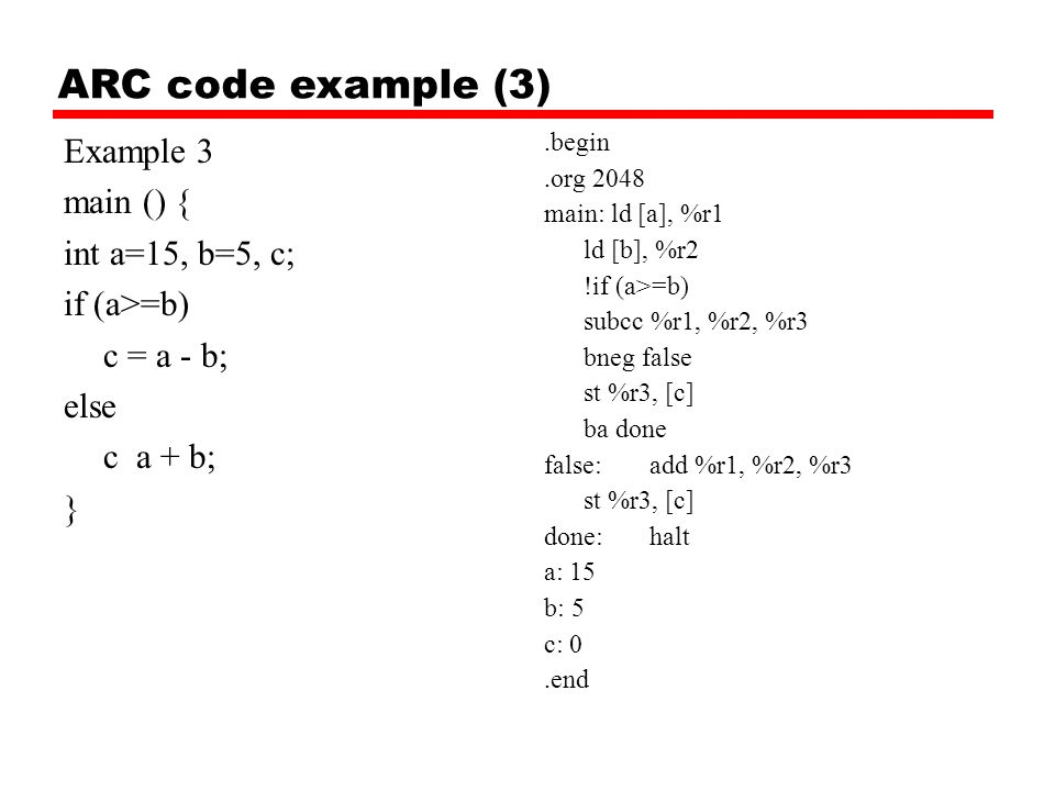 ARC code example (3) Example 3 main () { int a=15, b=5, c;