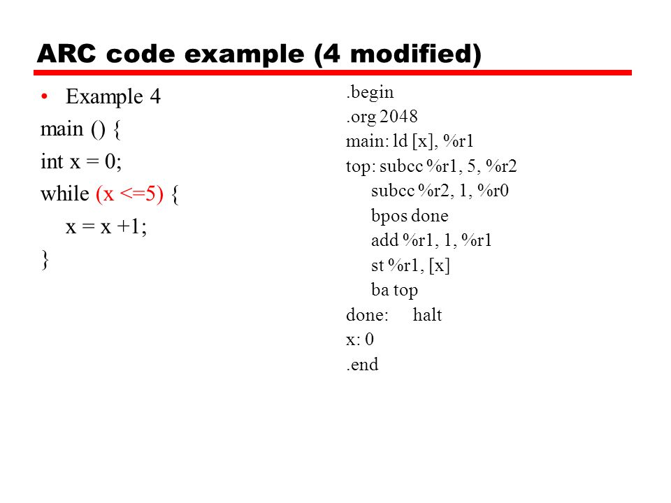 ARC code example (4 modified)