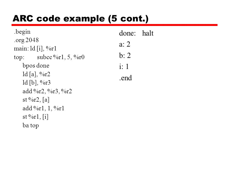 ARC code example (5 cont.)