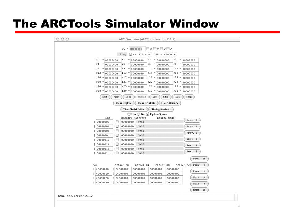 The ARCTools Simulator Window