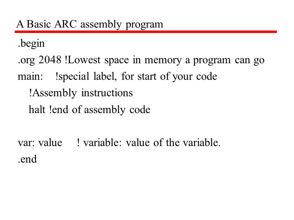 A Basic ARC assembly program