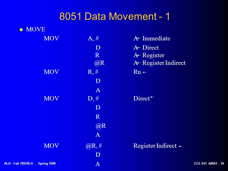8051 Data Movement - 1 MOVE MOV A, # A Immediate