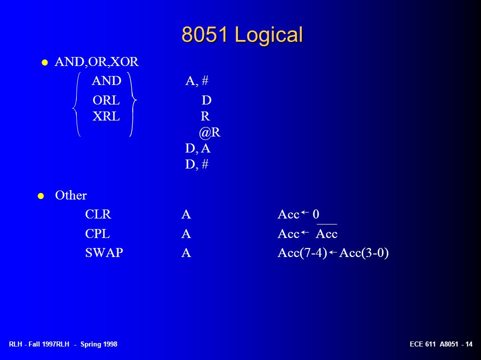 8051 Logical AND,OR,XOR AND A, # ORL D XRL R @R D, A D, # Other