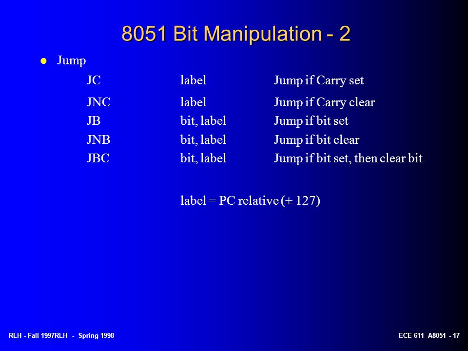 8051 Bit Manipulation - 2 Jump JC label Jump if Carry set