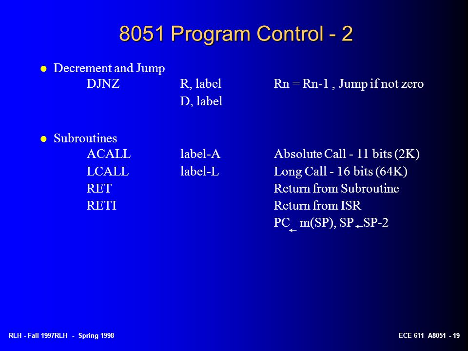 8051 Program Control - 2 Decrement and Jump