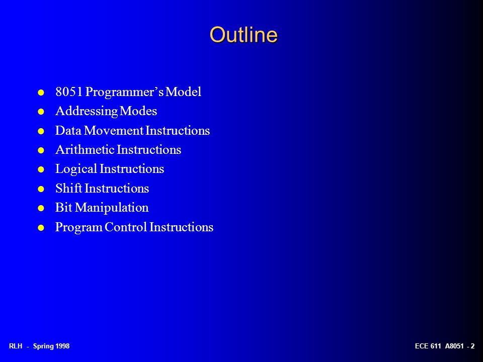 Outline 8051 Programmer's Model Addressing Modes