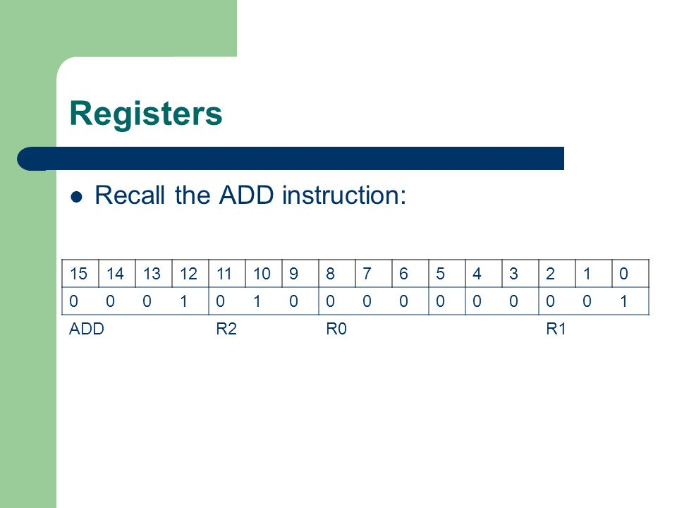 Registers Recall the ADD instruction: 15 14 13 12 11 10 9 8 7 6 5 4 3