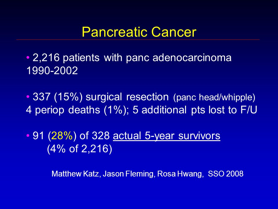 Pancreatic Cancer 2,216 patients with panc adenocarcinoma 1990-2002