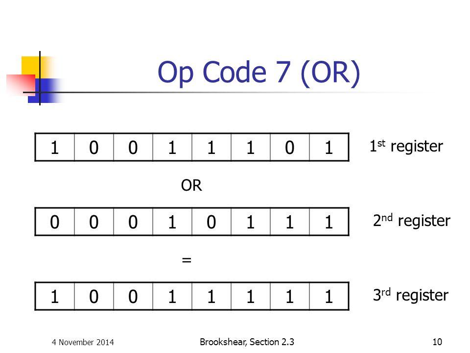 Op Code 7 (OR) 1 1 1 1st register OR 2nd register = 3rd register