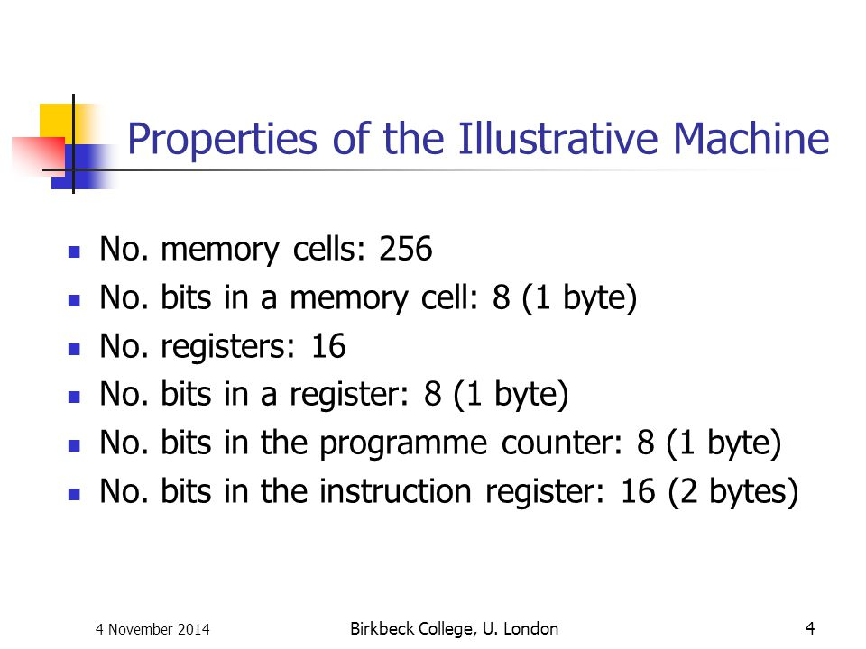 Properties of the Illustrative Machine