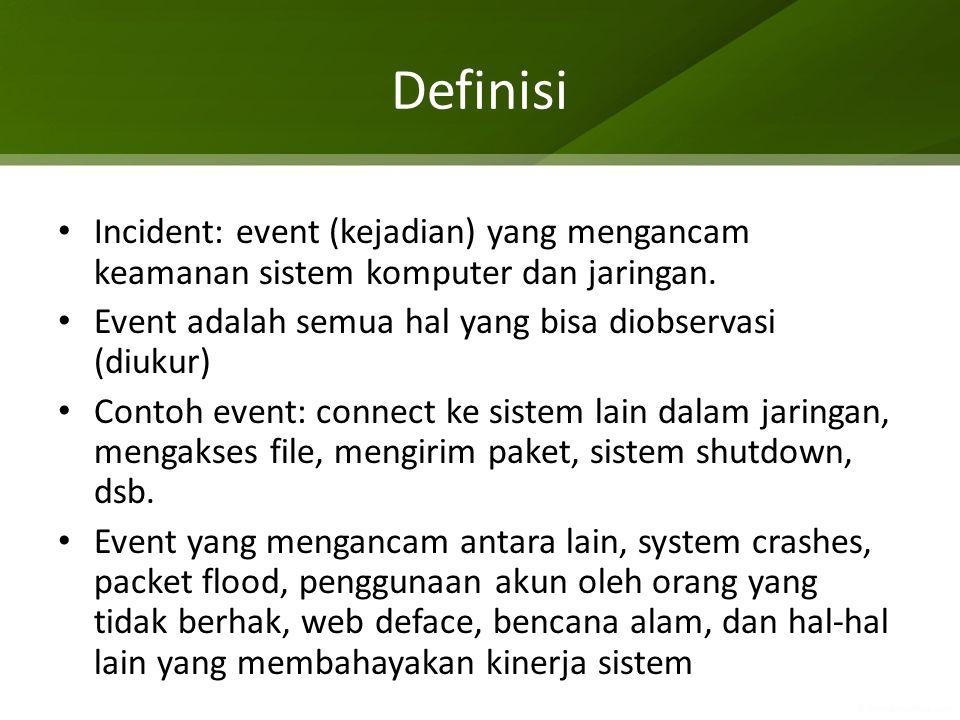 Definisi Incident: event (kejadian) yang mengancam keamanan sistem komputer dan jaringan. Event adalah semua hal yang bisa diobservasi (diukur)