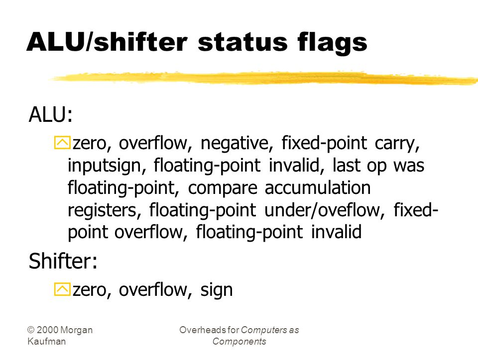ALU/shifter status flags