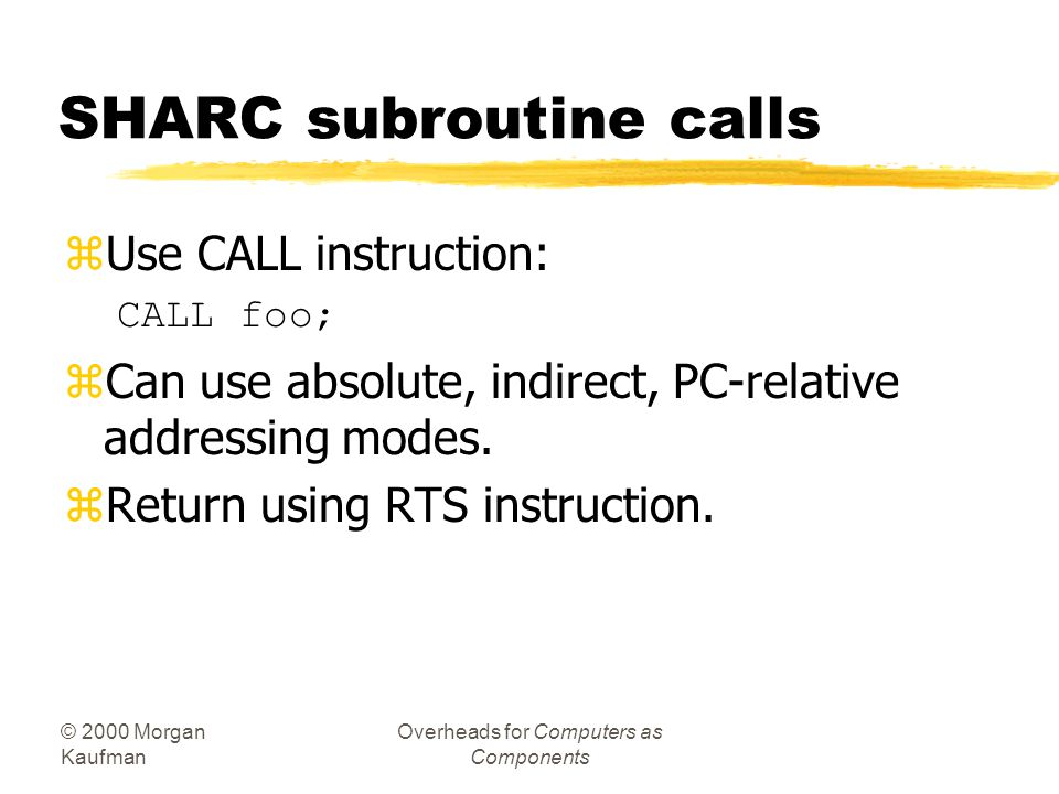 SHARC subroutine calls
