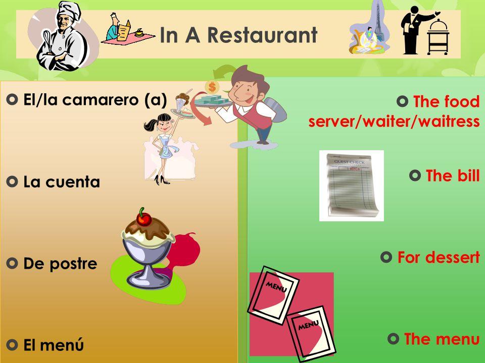 In A Restaurant El/la camarero (a) The food server/waiter/waitress