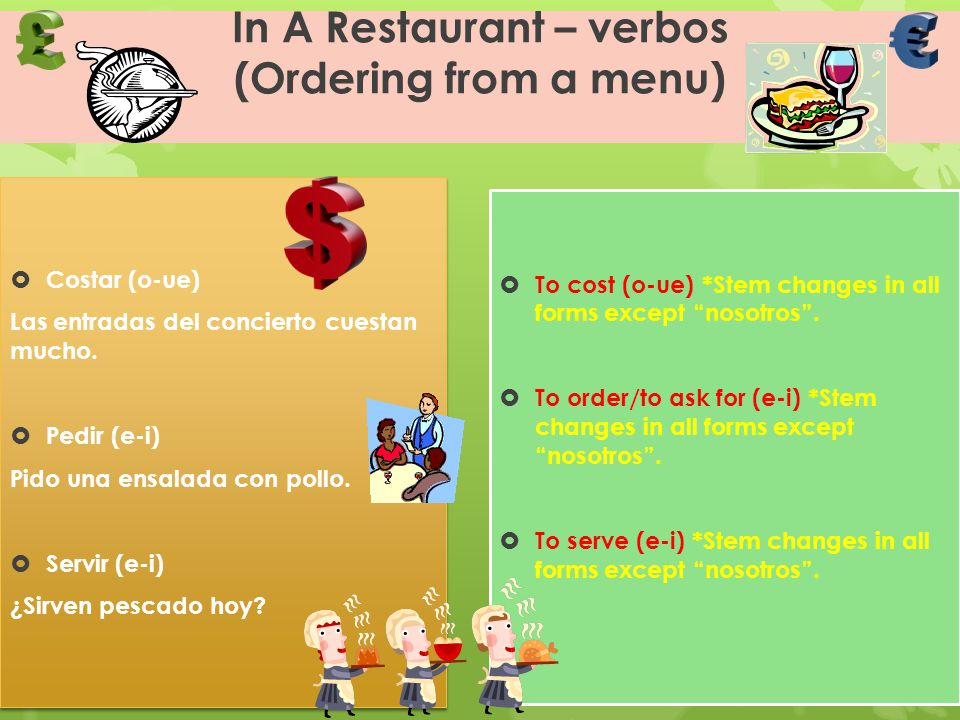 In A Restaurant – verbos (Ordering from a menu)