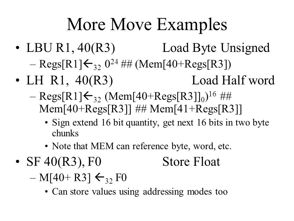 More Move Examples LBU R1, 40(R3) Load Byte Unsigned