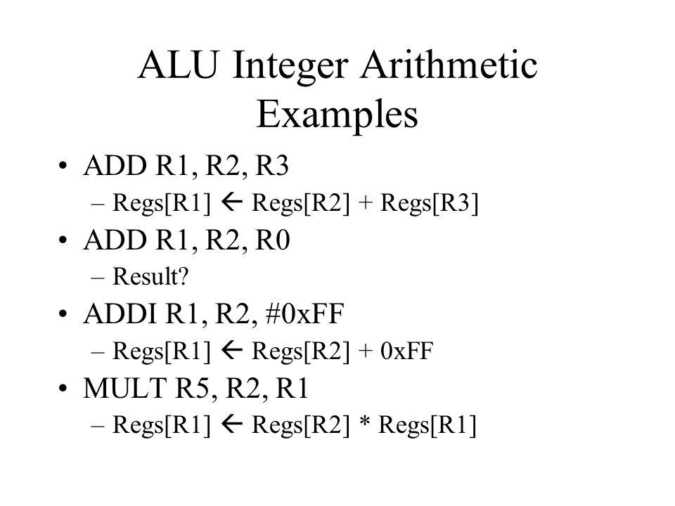ALU Integer Arithmetic Examples