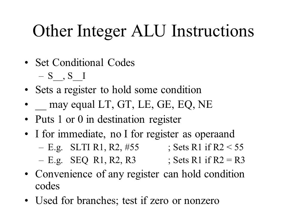 Other Integer ALU Instructions