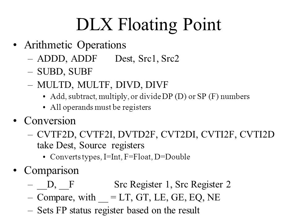 DLX Floating Point Arithmetic Operations Conversion Comparison