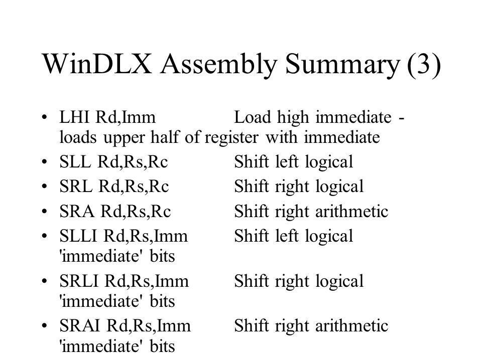 WinDLX Assembly Summary (3)