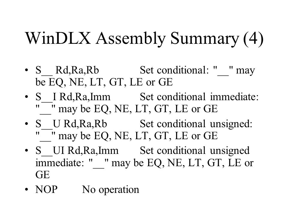 WinDLX Assembly Summary (4)