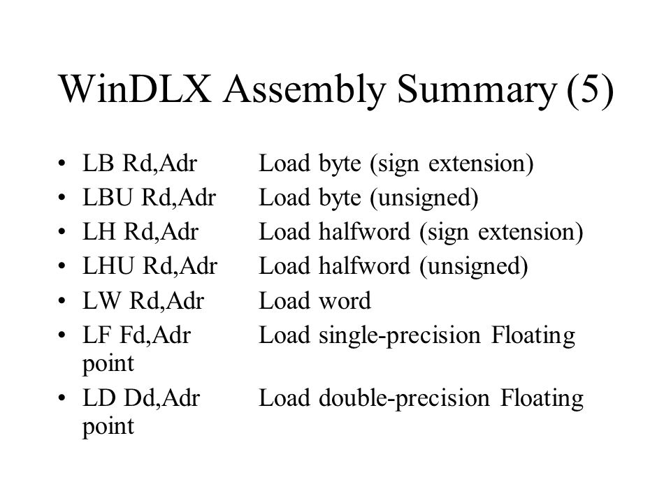 WinDLX Assembly Summary (5)