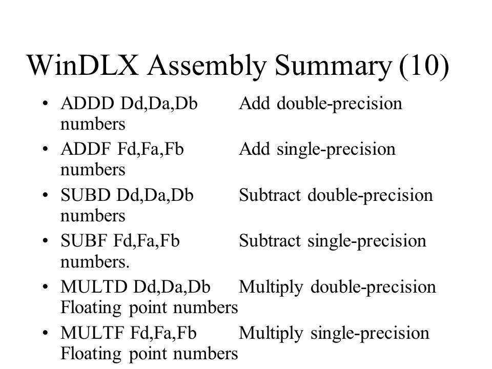 WinDLX Assembly Summary (10)