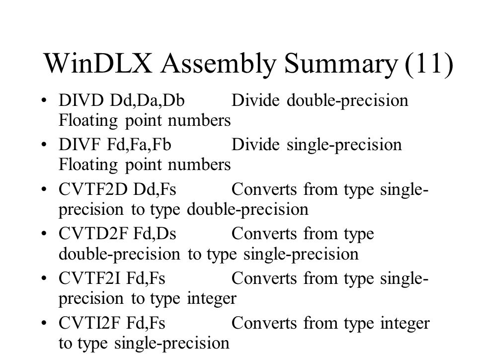 WinDLX Assembly Summary (11)