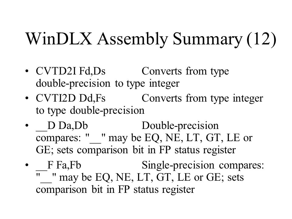 WinDLX Assembly Summary (12)