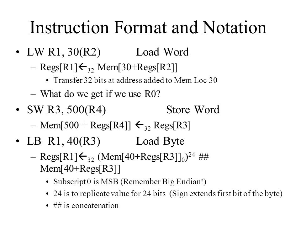 Instruction Format and Notation