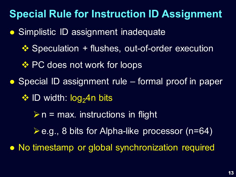 Special Rule for Instruction ID Assignment