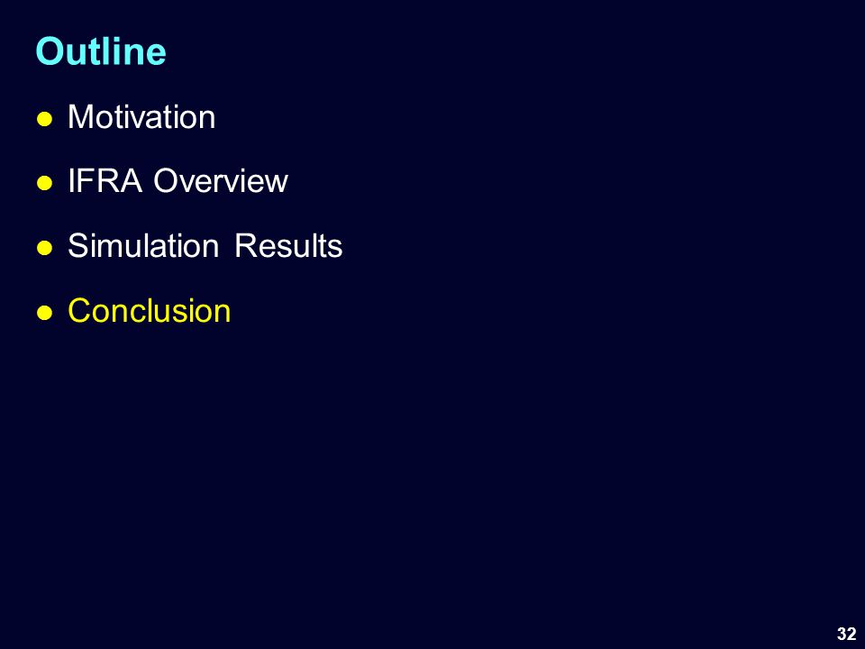 Outline Motivation IFRA Overview Simulation Results Conclusion