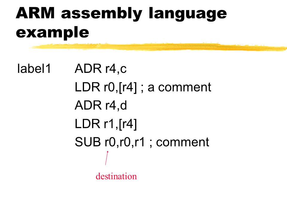 ARM assembly language example