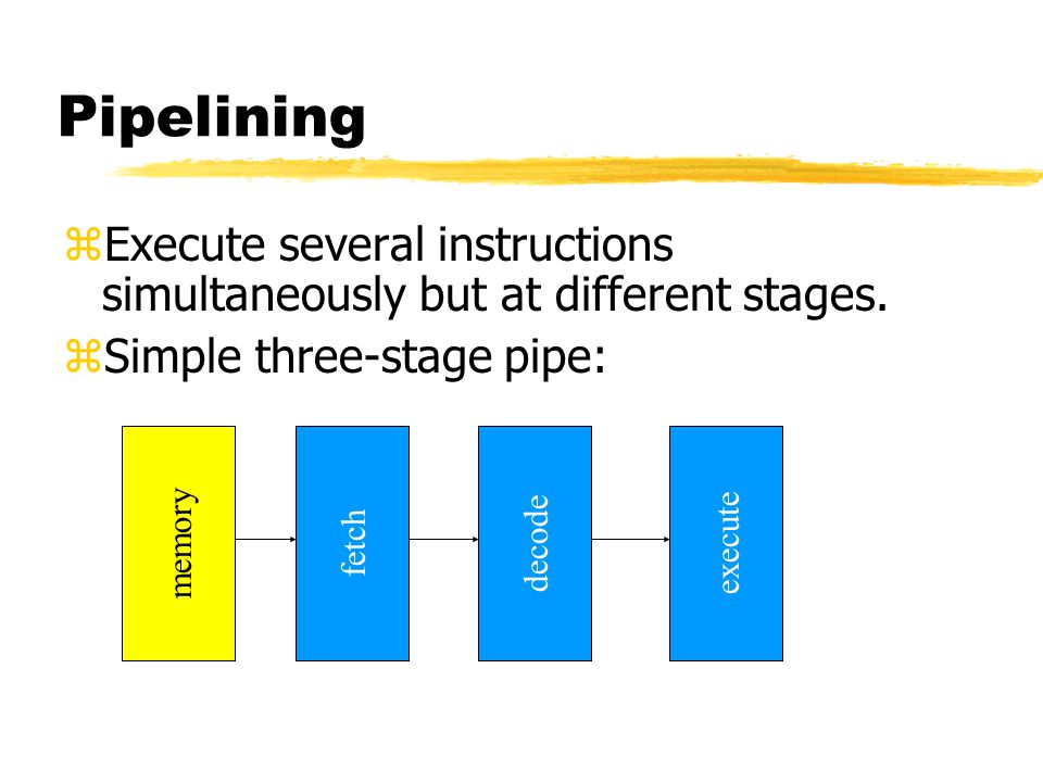Pipelining Execute several instructions simultaneously but at different stages. Simple three-stage pipe: