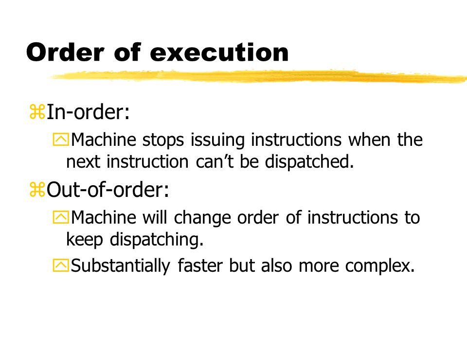 Order of execution In-order: Out-of-order:
