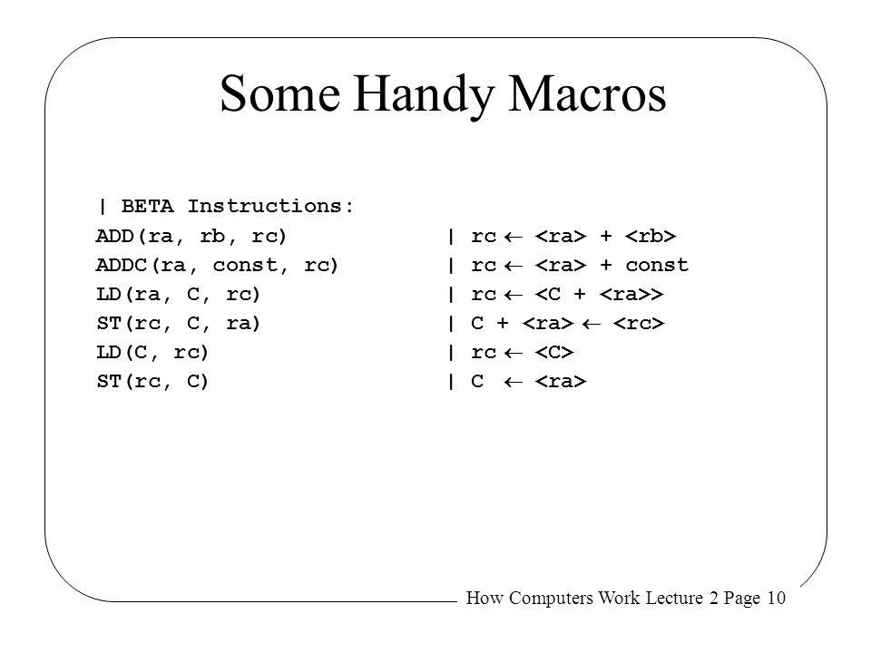Some Handy Macros | BETA Instructions: