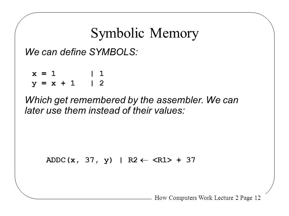 Symbolic Memory We can define SYMBOLS: