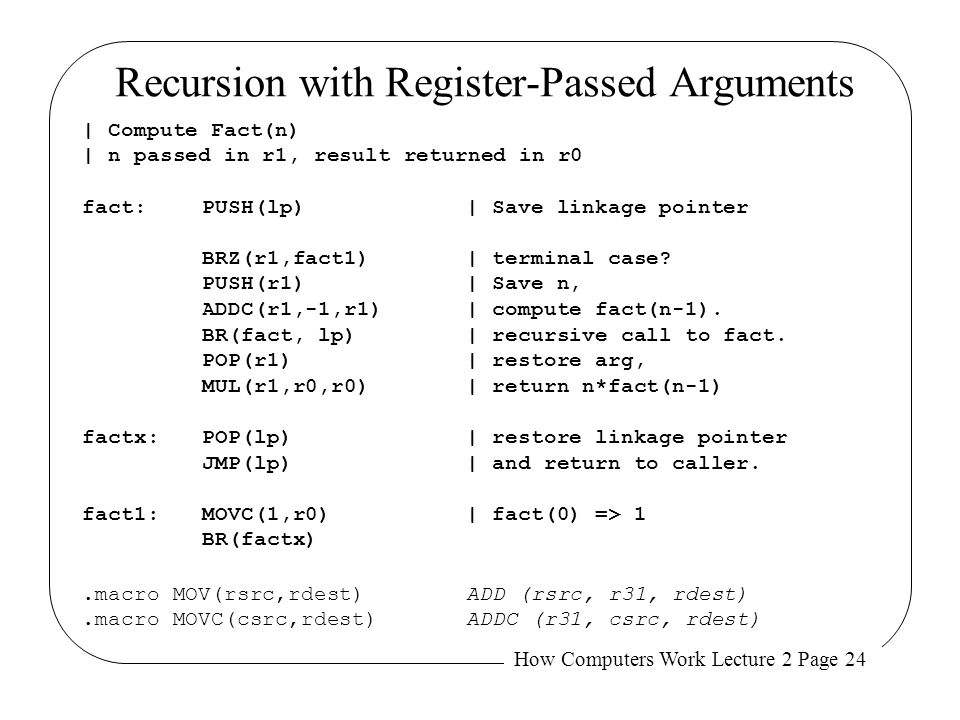 Recursion with Register-Passed Arguments