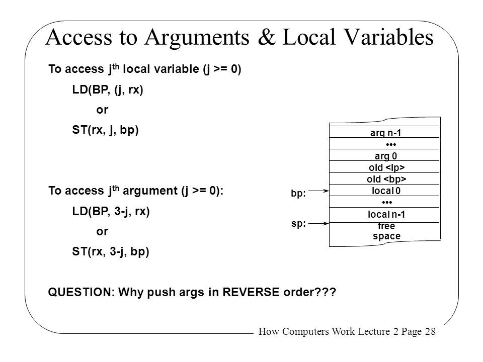 Access to Arguments & Local Variables