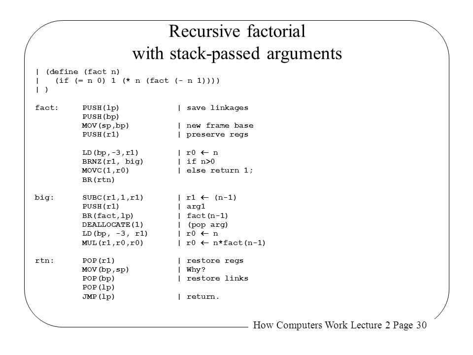 Recursive factorial with stack-passed arguments