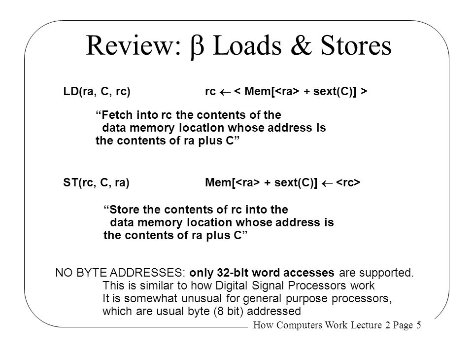 Review: b Loads & Stores