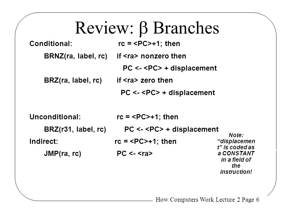 Review: b Branches Conditional: rc = <PC>+1; then