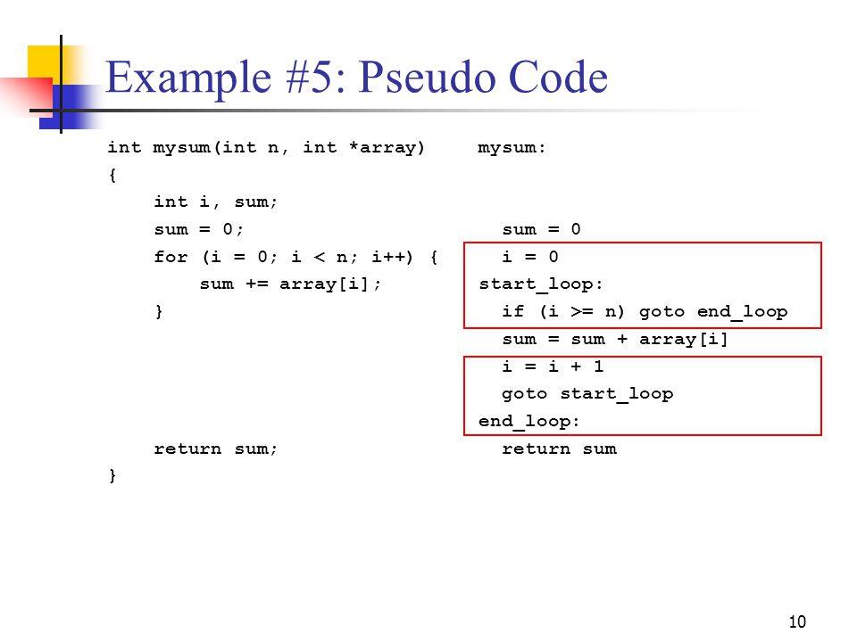 Example #5: Pseudo Code int mysum(int n, int *array) { int i, sum;