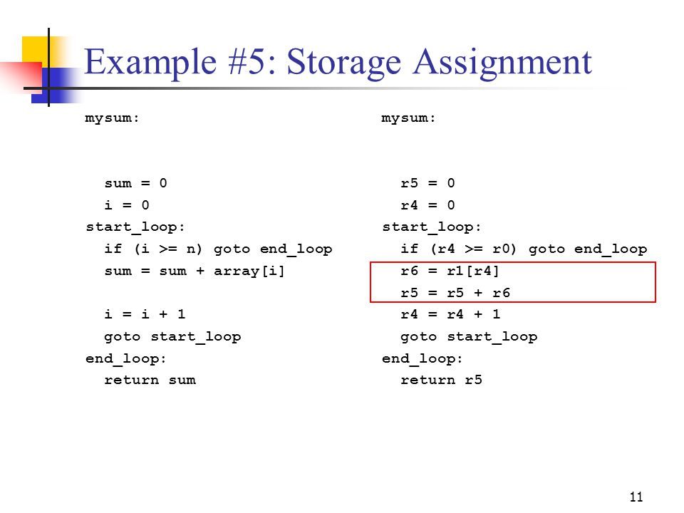 Example #5: Storage Assignment